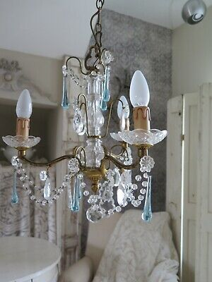 Antique FRENCH Aqua Crystal Beaded Chandelier Kristall Kronleuchter Nr.2 SHABBY
