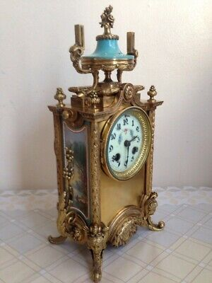 Antique French Brass Ormolu and Hand Painted Sevres Porcelain Clock c.1860