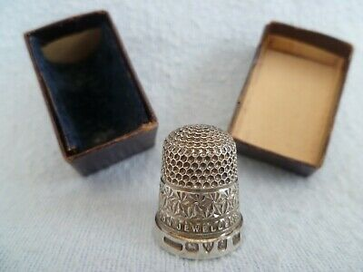 J W Ltd Silver Advertising Thimble Courlander Croydon Jewellers Chester 1924
