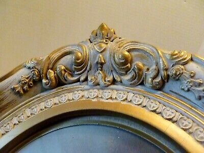 """Antique 15"""" X 13""""  OVAL WOOD Frame FRENCH PROVINCIAL 10 x 8 Rabbet WHITE & GOLD"""