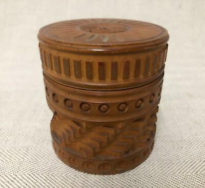 Excellent Antique Treen Carved Cylindrical Box, Fruit Wood? 1918 - Super Detail