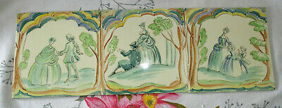 3 HANDPAINTED VINATGE WALL TILES BY THYNNE DATED 1947 old english scenes people
