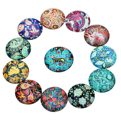 20 Pcs Flowers Pattern Refrigerator Magnet Sticker Round 12 mm Cabochon