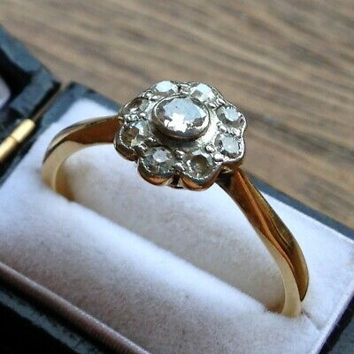 Fine Antique Unmarked Gold Art Deco Diamond Daisy Cluster Ring - Size R