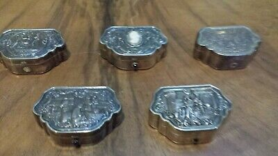 175g STERLING SILVER EXQUISITE virtu SET COLLECTION OF 5 BOX WITH GALANT SCENES
