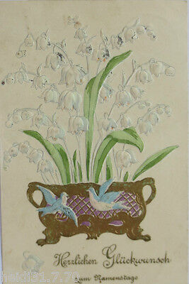 """"""" Naming Day, Lily of the Valley, Bird """" 1908, Gold Embossing Card (8929)"""