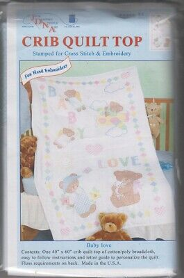 1 Jack Dempsey Baby Love Stamped XStitch-Embroidery Crib Quilt Top