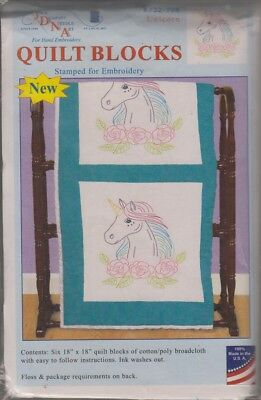 """1 Pk Jack Dempsey Unicorn 18"""" Stamped Embroidery Quilt Blocks"""