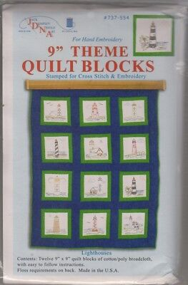 1 Jack Dempsey Lighthouses Stamped Embroidery Quilt Blocks