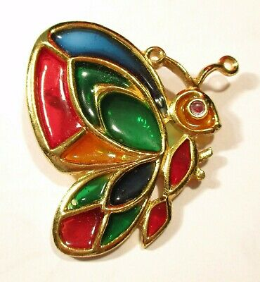 Vintage STAINED GLASS BUTTERFLY Pin Brooch Mother's Day Jewelry 1960's 1970's
