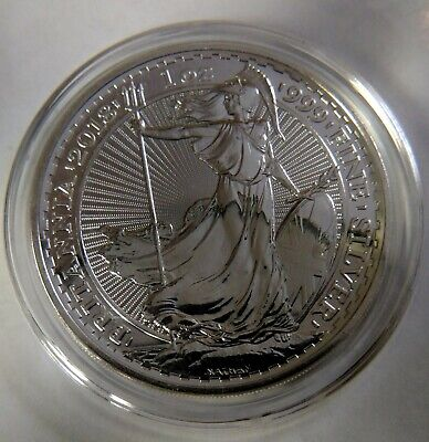 2018 1 oz Silver Great Britain £2 Britannia .999 Fine In Mint Clear Capsule