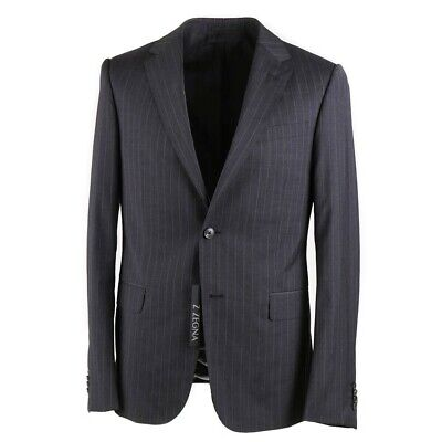 NWT $1595 Z ZEGNA Slim-Fit 'Drop 8' Charcoal Gray Stripe Wool Suit 42 R