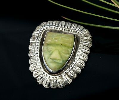 Large Silver & Green Onyx Mayan Face - Taxco Aztec Mask Vtg Sterling Pin