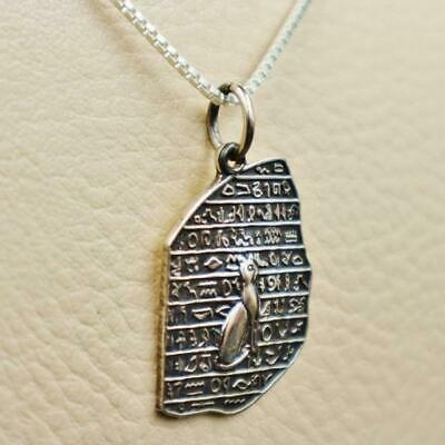 Antique Egyptian Sterling Silver Pendant Necklace Chain__BASTET CAT BES__STAMPED