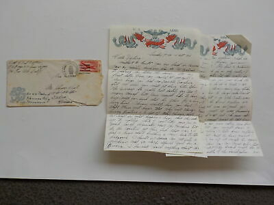 Chinese Civil War Letter 1946 Ate Humming Birds Dragon Stationary Peiping China