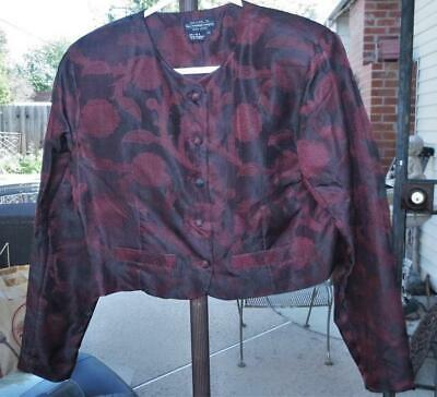The J. Peterman Company Womens Silk Red Floral Blouse Top Long Sleeve sz 10 EUC
