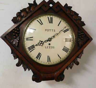 carved walnut cased convex fusee dial clock, potts leeds