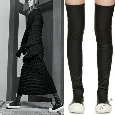 Womens Pleated High Over the Knee Thigh Boots Punk Wedge Platform Sneaker Shoes