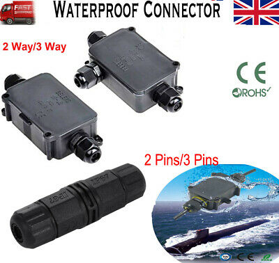 Packs 2 3 & 4Way Outdoor Waterproof IP66/ IP68 Cable Connector Junction Box 240v