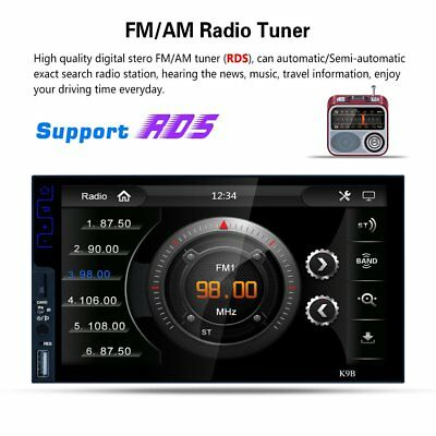 "Full HD 7"" In Dash Double Din Car Stereo MP5 Player BT FM AM RDS Mirror Link K9B"