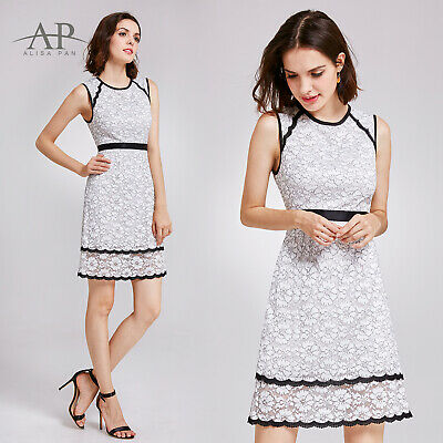 2523c134f03 Alisa Pan US Lace White Shift Summer Dresses Short Cocktail Party Prom Dress