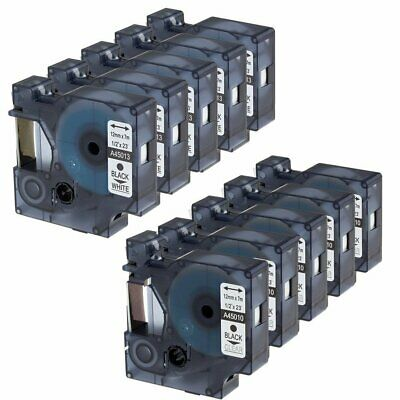 10PK Compatible Dymo D1 45013 and 45010 12mm Black on White/Clear Label Tape