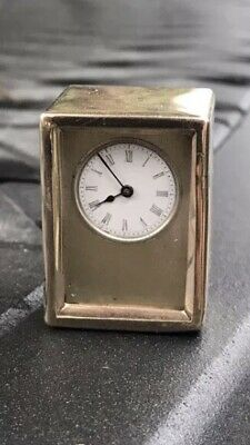 Antique Rare 9 Karat 9ct Gold Miniature Carriage Travel Clock By ASPREY London