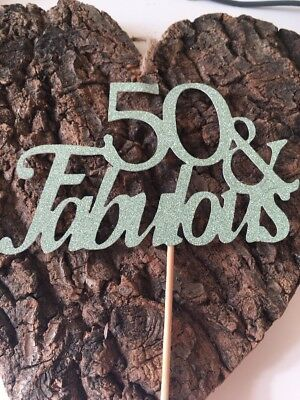 50 & Fabulous Green Glitter Cake Topper Birthday Decoration 50th Fiftieth Fifty