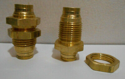 """Lot of 5 New 3/8"""" OD Brass Push In Fittings Bulkhead Connector Air Hose Tube"""
