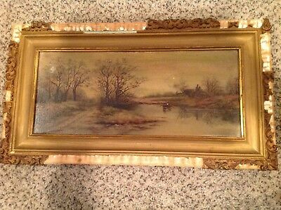 Antique Vintage Original Oil Painting On Tin  Art Work By N Collins 1800's