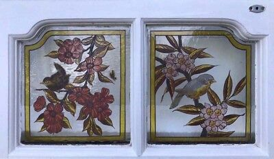 Stunning Rare Painted Birds Antique English Stained Glass Window Original Frame