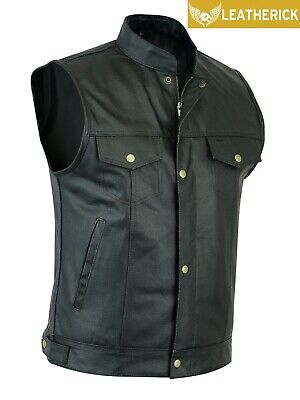 Men Sons of Anarchy gun pocket US Style Biker Leather Waistcoat - Cut off Style
