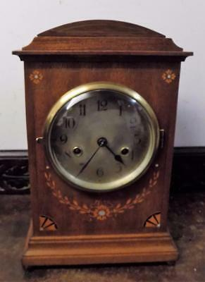 pretty mahogany inlaid striking bracket clock by gustav becker