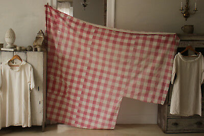 Vichy check fabric faded pink 1780's patched Antique French w/ curtain rings