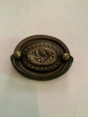 Antique Ornate Acorn Pattern Pressed Brass Drawer Pull