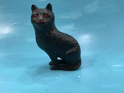 Antique Miniature Black Cat Red Eyes Cast Iron Penny Or Dime Bank, Door Stop