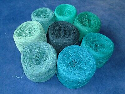925gms SHETLAND WOOL - 2/9s - 4ply - MIXED TURQUOISE/TEAL KNITTING YARN - new