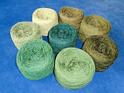 925gms SHETLAND WOOL - 2/9s - 4ply - MIXED OLIVE/GREEN KNITTING YARN - new