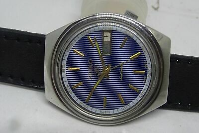 *vintage Seiko 5 Day&date Automatic Blue Color Line Dial Golden Figure Watch