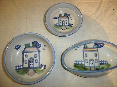 M A Hadley Country Scene 3 Bowls  with a House on each one 8541