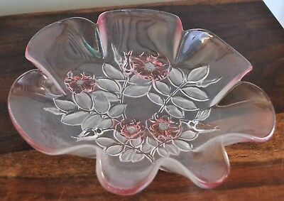 Walther-Glas Glass Rosella Fluted Bowl Dish Pink Floral 20cm