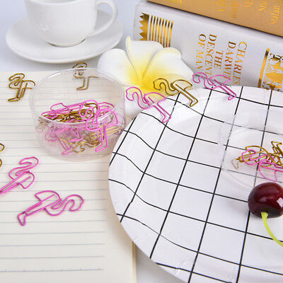 24Pcs/box Flamingo Bookmark Planner Paper Clip for Book Stationery Sch YJ