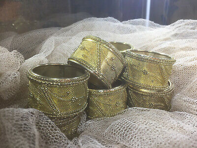 Vintage Set Of 8 Heavy Gold Plated Ornate Detailed Napkin Rings/Tableware