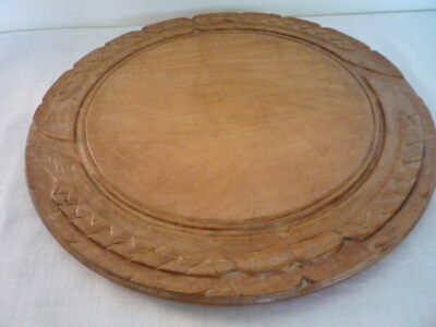Antique Victorian Carved Border Wood Bread Board Chopping English Kitchenalia