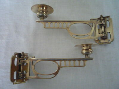 Pair Antique Brass Candlestick Holder Wall Sconce Piano Maker C & W RD 561552