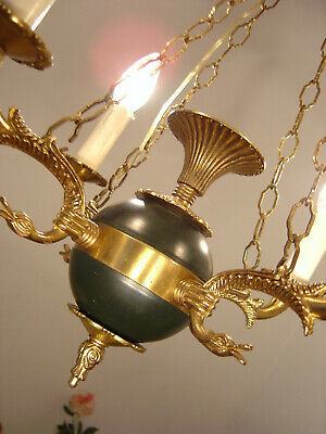 Brass French Empire Chandelier Ceiling Lamp Dark Green Old Used 6 Light