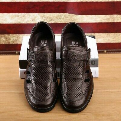 Men Leather Sandals Fisherman Shoes Closed Toe Hollow Beach Flats Outdoor Casual