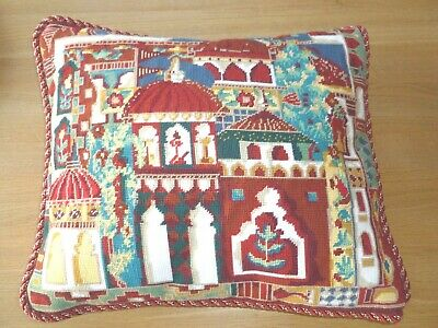 Stunning hand-stitched Ehrman Faizabad tapestry cushion by Annabell Nellist