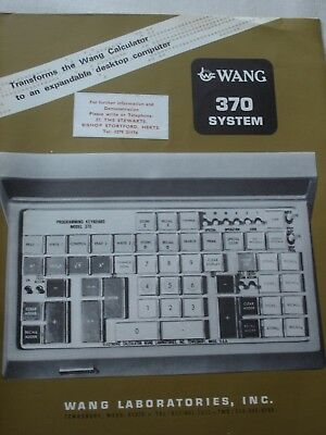 Vintage 1967 WANG 370 System Calculator / Computer Brochure