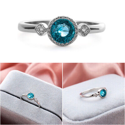 Jewelry Gifts Women Ice Blue Sapphire  925 Sterling Silver Topaz Ring Size 5-10